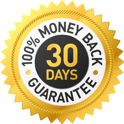 100% Money Back 30 Days Guarantee